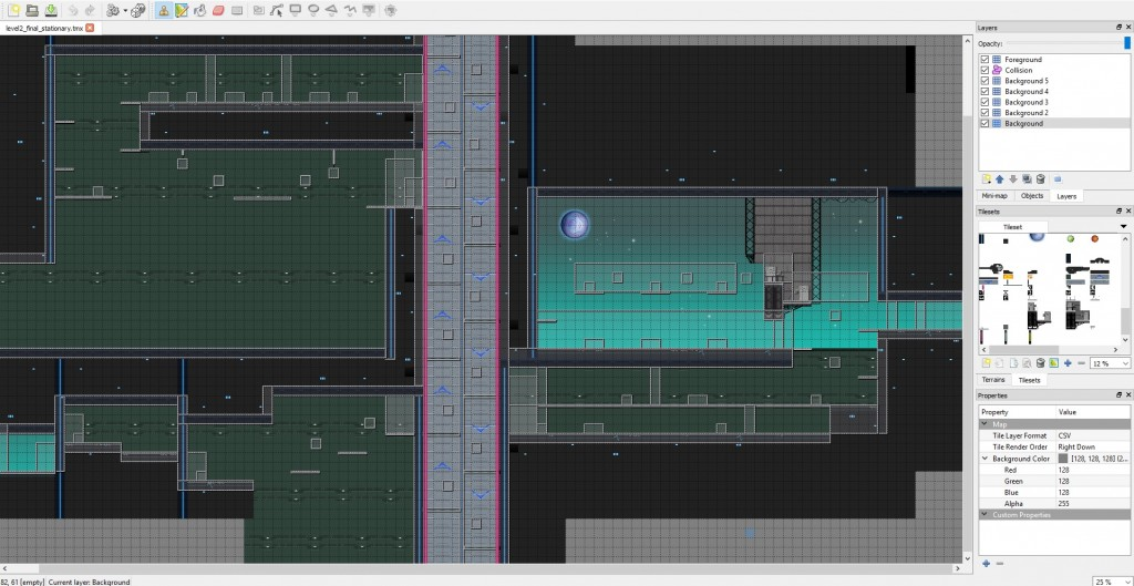 Tiled level editor view.